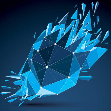 demolished: Perspective technology demolished shape with white dotted lines connected, polygonal blue wireframe object. Explosion effect, abstract thread faceted element cracked into multiple fragments. Illustration