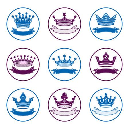majestic: Stylized royal 3d vector design elements, set of king crowns. Majestic symbols with decorative festive ribbon isolated on white. Coronation idea. Illustration