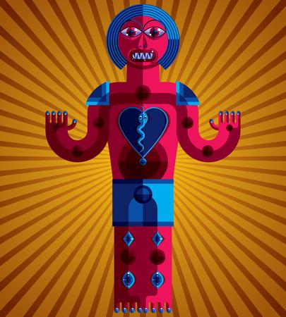 cubismo: ilustración vectorial gráfico, carácter antropomórfico aislado en el fondo artístico, imagen de usuario moderna decorativa hecha en estilo del cubismo.