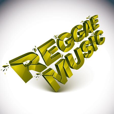 demolished: 3d green reggae music word broken into pieces, demolished vector design element. Shattered art stylish inscription. Illustration