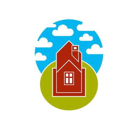 fluffy clouds: Simple house vector illustration, countryside idea. Abstract image of a building over beautiful landscape with blue sky and fluffy clouds. Real estate theme.