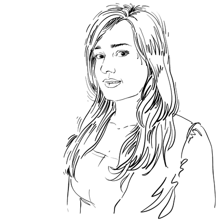 feature: Hand-drawn vector illustration of beautiful romantic woman. Monochrome image, expressions on face of young positive lady, features.