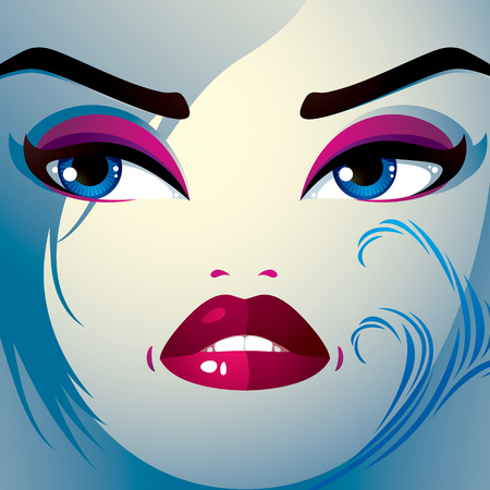 countenance: Attractive woman with stylish bright make-up and contemporary hairstyle. Sexy Caucasian sad and depressed lady. Decorative portrait.