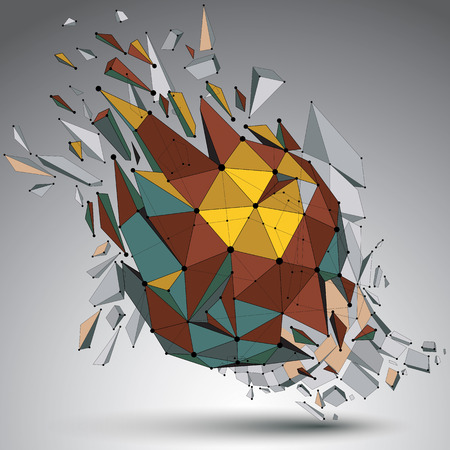 demolished: Perspective technology demolished shape with lines and dots connected, bright polygonal wireframe object. Explosion effect, abstract faceted element cracked into multiple fragments.