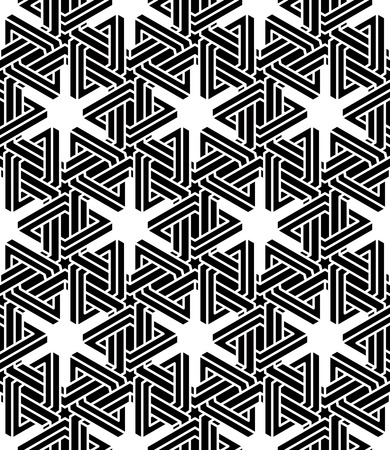 intertwine: Illusive continuous monochrome pattern, decorative abstract background with 3d geometric figures. Contrast ornamental seamless backdrop, can be used for design and textile. Illustration