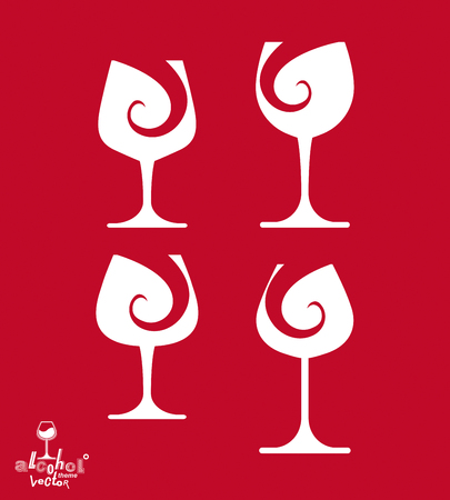 wineglasses: Beautiful vector sophisticated wine goblets, alcohol theme illustrations set. Stylized art wineglasses, romantic rendezvous idea. Lifestyle graphic design elements.
