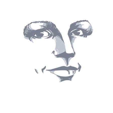 bemused: Monochrome silhouette of romantic attractive lady, face features. Hand-drawn vector illustration of woman visage, outline.