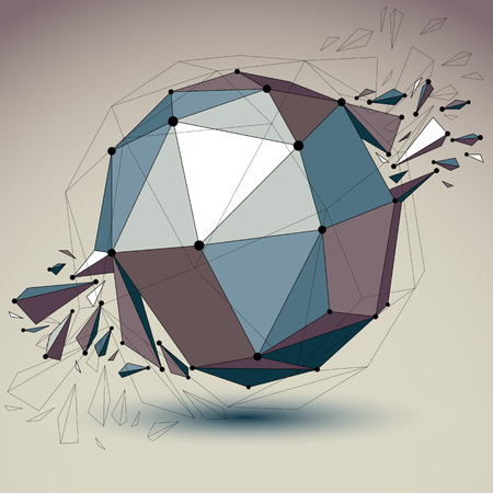 wrecked: Abstract vector low poly wrecked object with black lines and dots connected. 3d origami futuristic spherical form with lines mesh. Digital technology network element. Illustration