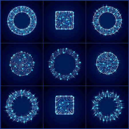 circuit boards: Collection of vector microchip designs, cpu. Information communication technology elements with sparkles, blue luminescent circuit boards in the shape of square and circle. Illustration
