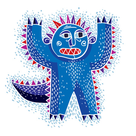 weird: Character scared monster vector flat illustration, cute blue mutant. Drawing of weird beast, emotional expression.