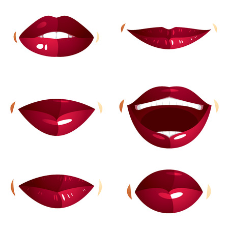 smile icon: Collection of vector red female lips with makeup, different emotions of ladies. Simple beautiful female open and close up lips and mouth. Illustration