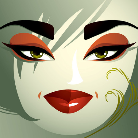 hairdo: Coquette woman eyes and lips, stylish makeup and hairdo. People negative facial emotions.