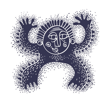 Comic character, vector funny alien monster. Emotional expression idea graphic symbol, design element.