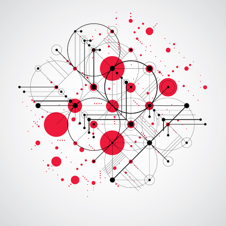 modular: Bauhaus art composition, decorative modular red vector wallpaper with circles and grid. Retro style pattern, graphic backdrop for use as booklet cover template.