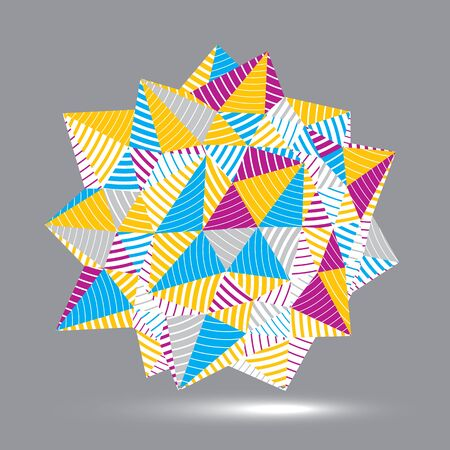 threedimensional: Vector complicated 3d figure, modern digital technology style form. Abstract stripy bright three-dimensional object.