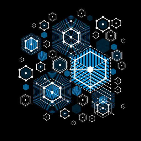 overlie: Vector abstract blue background created in Bauhaus retro style. Modern geometric composition can be used as templates and layouts. Engineering technological wallpaper made with honeycombs. Illustration