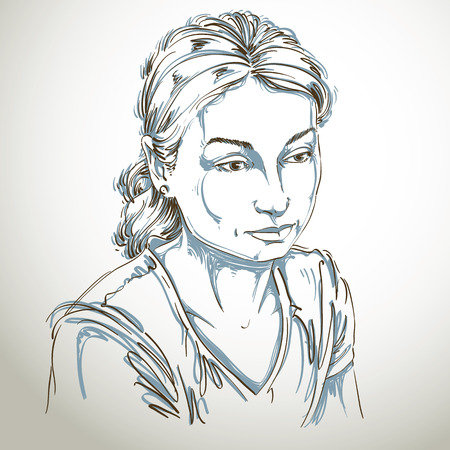 young woman face: Vector portrait of sad attractive woman, illustration of good-looking sorrowful female. Person emotional face expression. Illustration