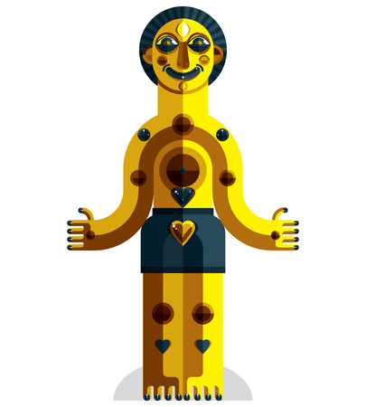 avant garde: Vector avant-garde illustration of mythic person, pagan symbol.  Modernistic graphic picture, anthropomorphic character isolated.