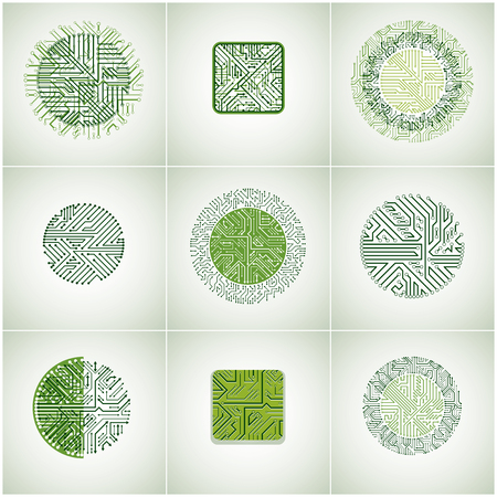 circuit boards: Collection of vector microchip designs, cpu. Information communication technology elements with multidirectional arrows, circuit boards in the shape of square and circle.