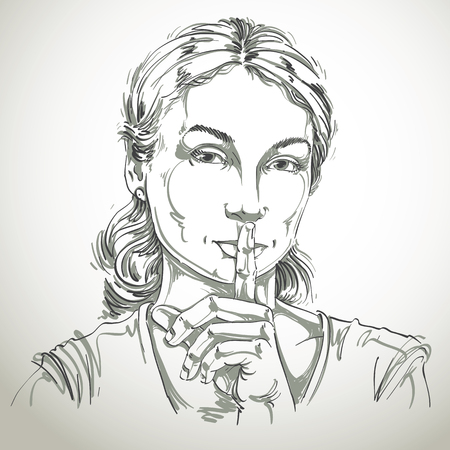 hush: Vector art drawing, portrait of peaceful girl making a hush sign with her finger. Facial expressions, people emotions. Be quiet theme, be still illustration.