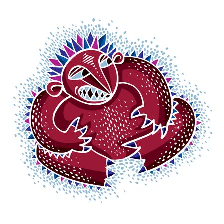 alien cool: Comic character, vector funny red alien monster. Emotional expression idea graphic symbol, design element. Illustration
