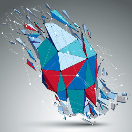 refractions: 3d vector low poly object with connected black and white lines and dots, colorful geometric wireframe shape with refractions. Asymmetric perspective shattered form.