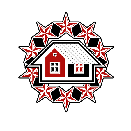 simple house: Solidarity idea vector icon, simple house surrounded with festive stars. Stylized design element, union theme. Illustration
