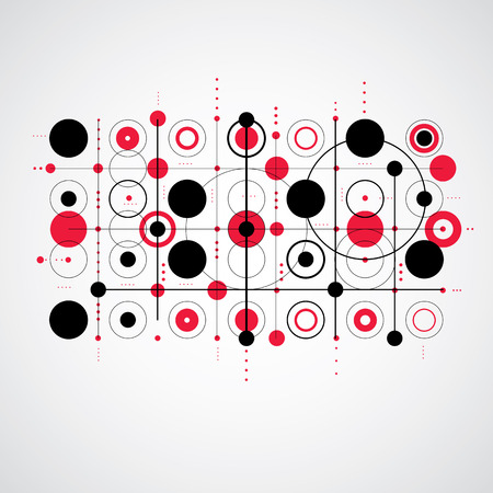 grid pattern: Bauhaus art composition, decorative modular red vector wallpaper with circles and grid. Retro style pattern, graphic backdrop for use as booklet cover template.