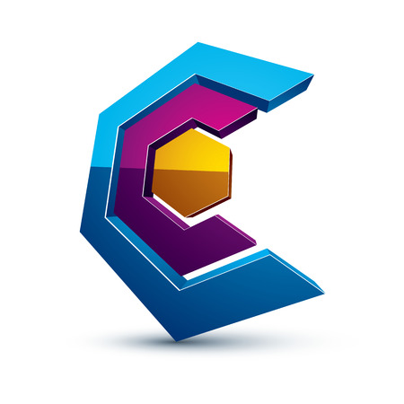 threedimensional: Three-dimensional colorful graphical interface icon isolated on white, teamwork idea vector design element. Abstract web special symbol.