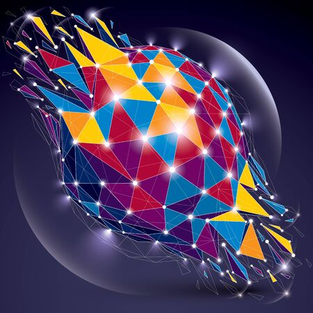 radiance: 3d vector low poly spherical object with sparkles, white connected lines and dots, geometric wireframe shape with refractions. Radiance perspective colorful shattered form. Illustration