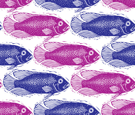 sea bream: Vector seamless pattern with fishes, different species. Underwater life theme wallpaper, for use in graphic design. Illustration