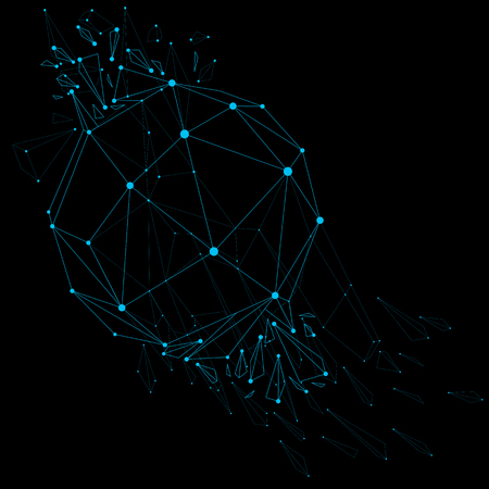 demolished: Vector wireframe luminescent shine object with blue connected dotted lines, demolished shape with refractions and wreckage. Dimensional mesh global technology element broken into particles.