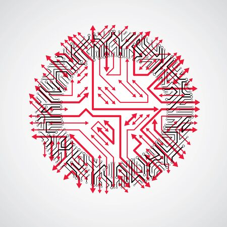 multidirectional: Futuristic cybernetic scheme with multidirectional arrows, vector motherboard red illustration. Circular element with circuit board texture. Illustration