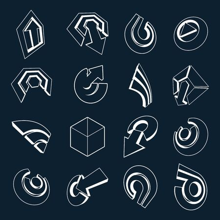 three points: Vector 3d simple navigation pictograms collection. Set of monochrome corporate abstract design elements. Arrows and circular web icons.