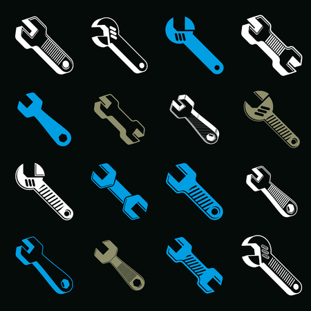 adjustable: Repair instruments collection, 3d tools, wrenches and adjustable wrenches. Construction idea vector simple objects, design elements.