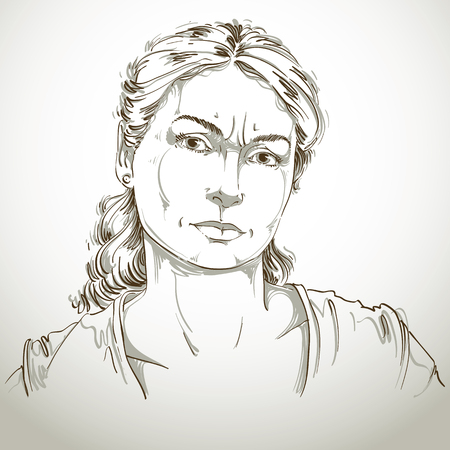 forehead: Hand-drawn portrait of white-skin doubtful woman, face emotions theme illustration. Skeptic or angry lady with wrinkles on her forehead posing on white background. Illustration