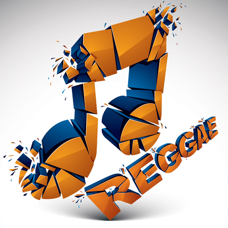 facet: Orange 3d vector shattered musical note with specks and refractions. Dimensional facet design music demolished symbol. Reggae music theme