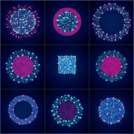 luminescent: Collection of vector microchip designs, cpu. Information communication technology elements with sparkles and arrows, luminescent neon circuit boards in the shape of square and circle. Illustration