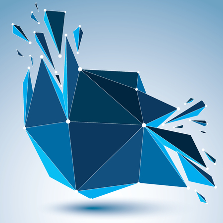fragmentation: 3d vector low poly object with connected black and white lines and dots, blue geometric wireframe shape with refractions. Asymmetric perspective shattered form. Illustration