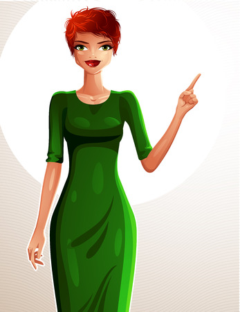 redhead woman: Beautiful coquette lady illustration, full body portrait of a sexy slim redhead pointing at something to side with her finger. People expression of a young pretty woman. Illustration