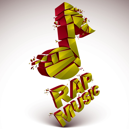 refractions: Golden 3d vector shattered musical note with specks and refractions. Dimensional facet design music demolished symbol. Rap music theme. Illustration