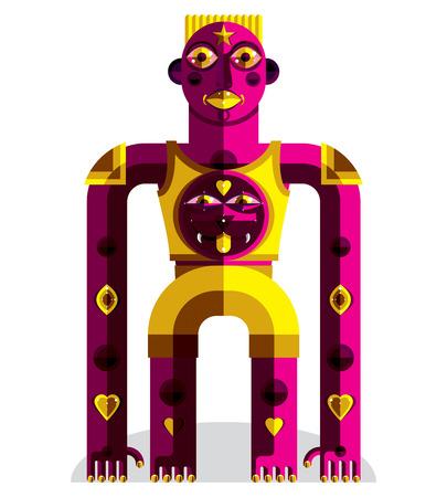 cubismo: ilustración vectorial de Modernistic extraña bestia, geométrico avatar estilo del cubismo aislado sobre fondo blanco. imagen de personaje extraño nacido en diseño plano. Vectores