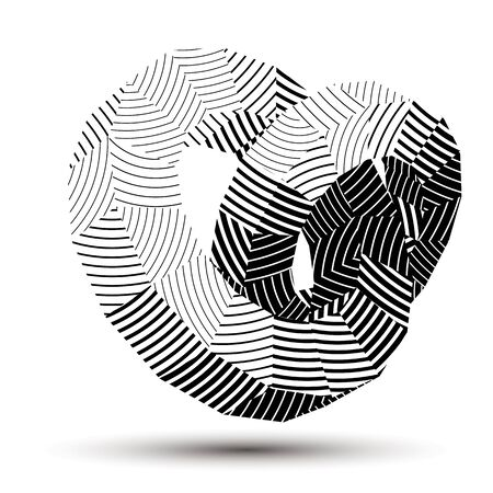 deformed: 3D vector abstract design object, polygonal complicated figure. Grayscale three-dimensional deformed striped shape, render. Illustration