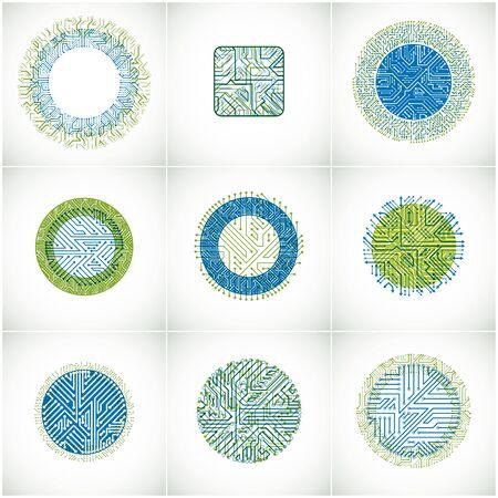 circuitos electronicos: Colección de diseños del vector de microchip, cpu. elementos de tecnología de información y comunicación con las flechas multidireccionales, placas de circuito en forma de cuadrado y el círculo. Vectores