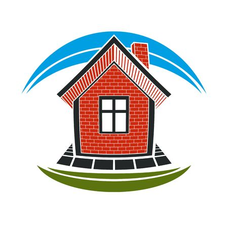 Home conceptual illustration, vector simple house constructed with red bricks. House art picture, real estate theme. Abstract image, best for use in advertising, estate and construction business.