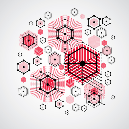 bauhaus: Bauhaus retro wallpaper, art vector red background made using grid, circles and rhombuses. Geometric graphic 1960s illustration can be used as booklet cover design. Technological pattern.