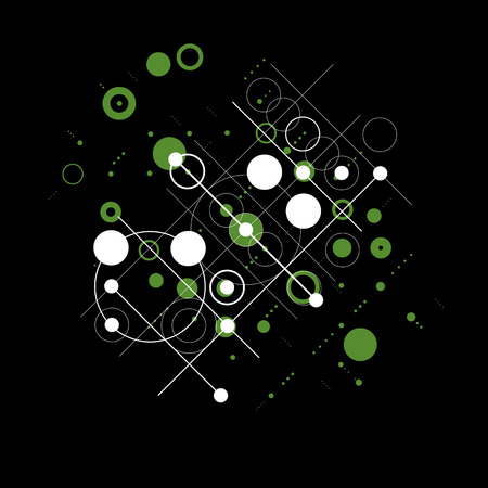 bauhaus: Modular Bauhaus green vector background, created from simple geometric figures like circles and lines. Best for use as advertising poster or banner design. Illustration