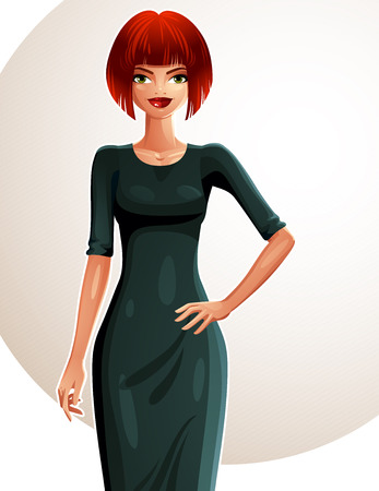 Sexy coquette Caucasian woman with her hand on a waist, full-length portrait. Attractive red-haired lady with a stylish makeup wearing an elegant dress.