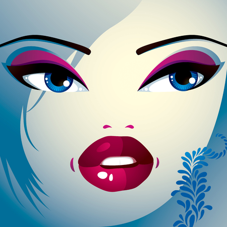 hairdo: Coquette woman eyes and lips, stylish makeup and hairdo. People facial emotions, surprise.