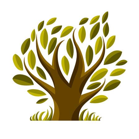 symbolic: Vector image of single branchy tree, nature concept. Art symbolic illustration of plant, forest idea.